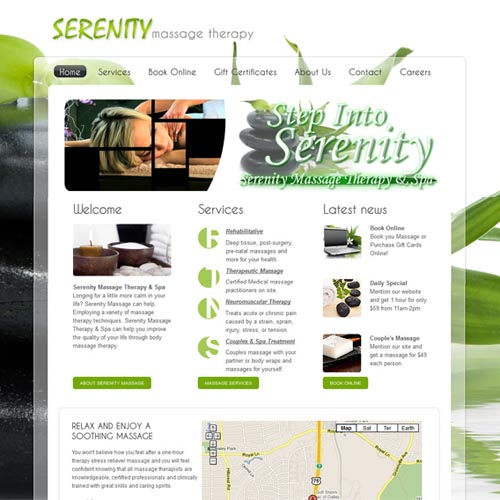 Serenity Massage website design