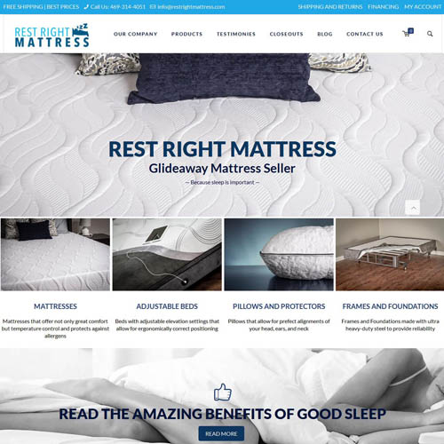 Rest Right Mattress website development