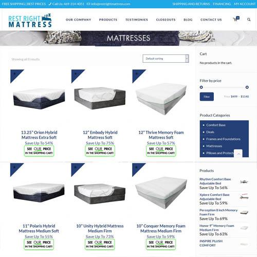 Mattress website shop page