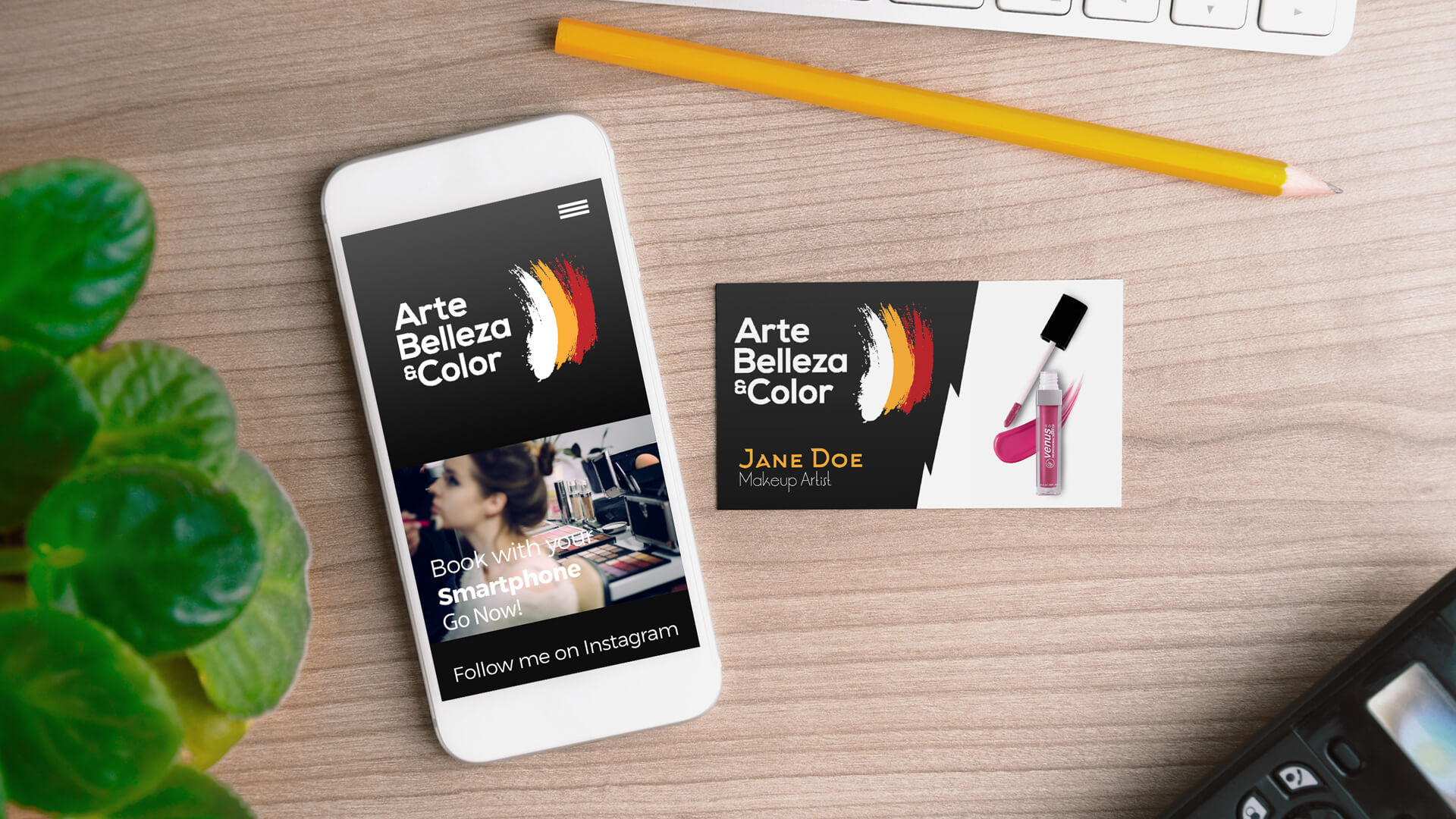 Arte Belleza and Color phone and business card