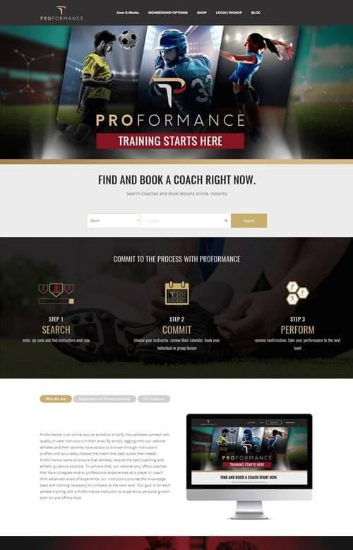 Proformance website preview