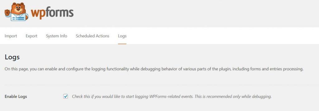 WPForms enable email logging