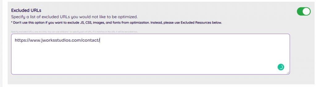 NitroPack exclude errors